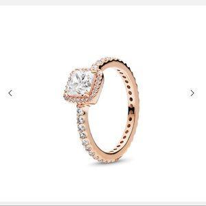 Jewelry - PANDORA square sparkle ring, rose, cubic zirconia